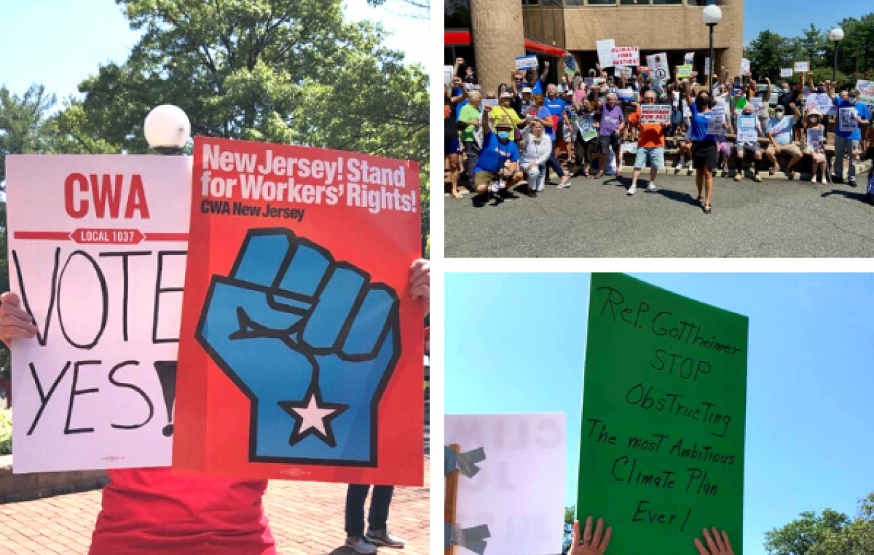Collage of photos of Local 1037 rally with other union members
