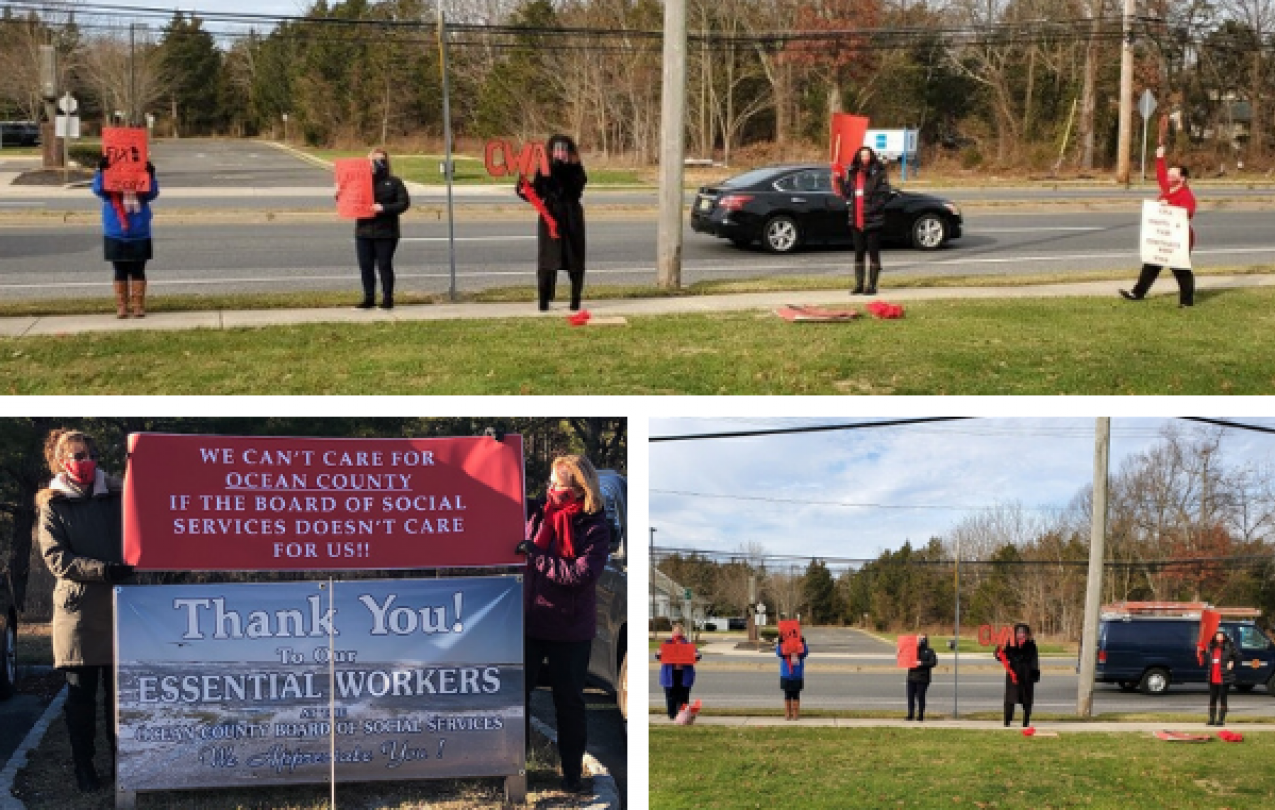 Collage of pictures of CWA Local 1088 actions