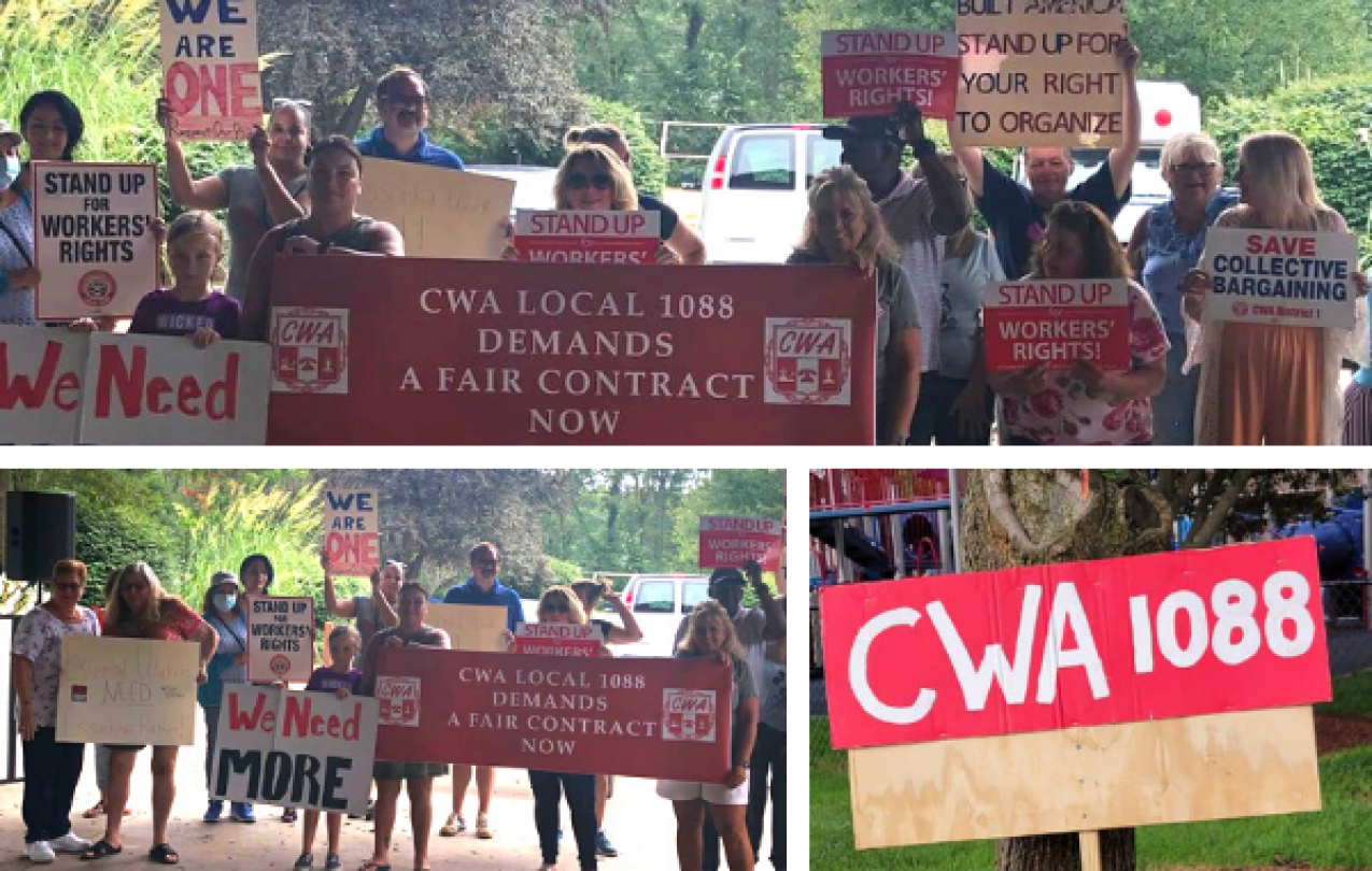 Collage of pictures of CWA Local 1088 members at their first annual BBQ and rally for a fair contract