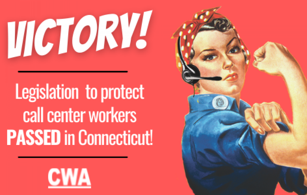 CT Victory Graphic with Rosie the Call Center Riveter