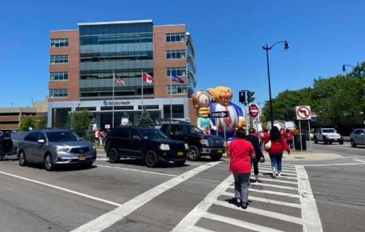 CWA members in Buffalo march to Catholic Health office building
