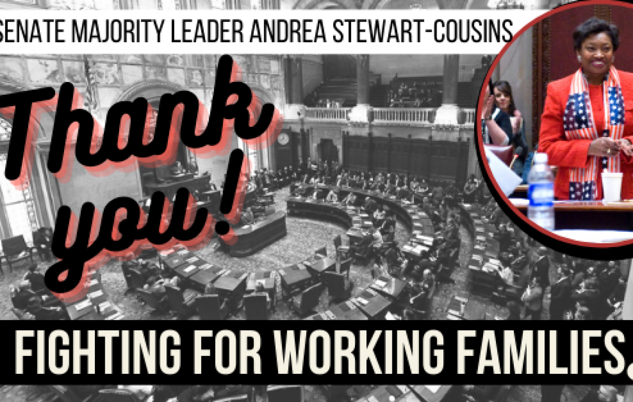 Graphic thanking Senate Majority Leader Andrea Stewart-Cousins