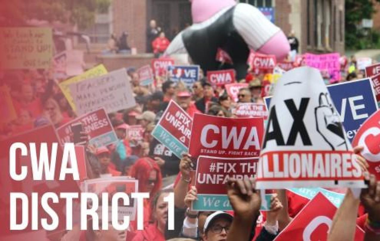 CWA District 1 graphic with crowd and signs