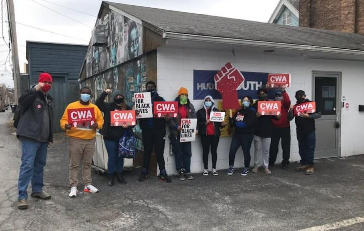 CWA Local 1120 rallying with Hudson Youth Workers for CWA representation