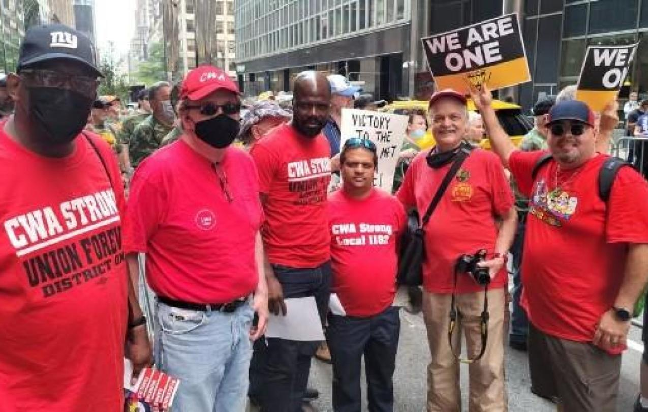 CWA members at a rally to support striking mine workers