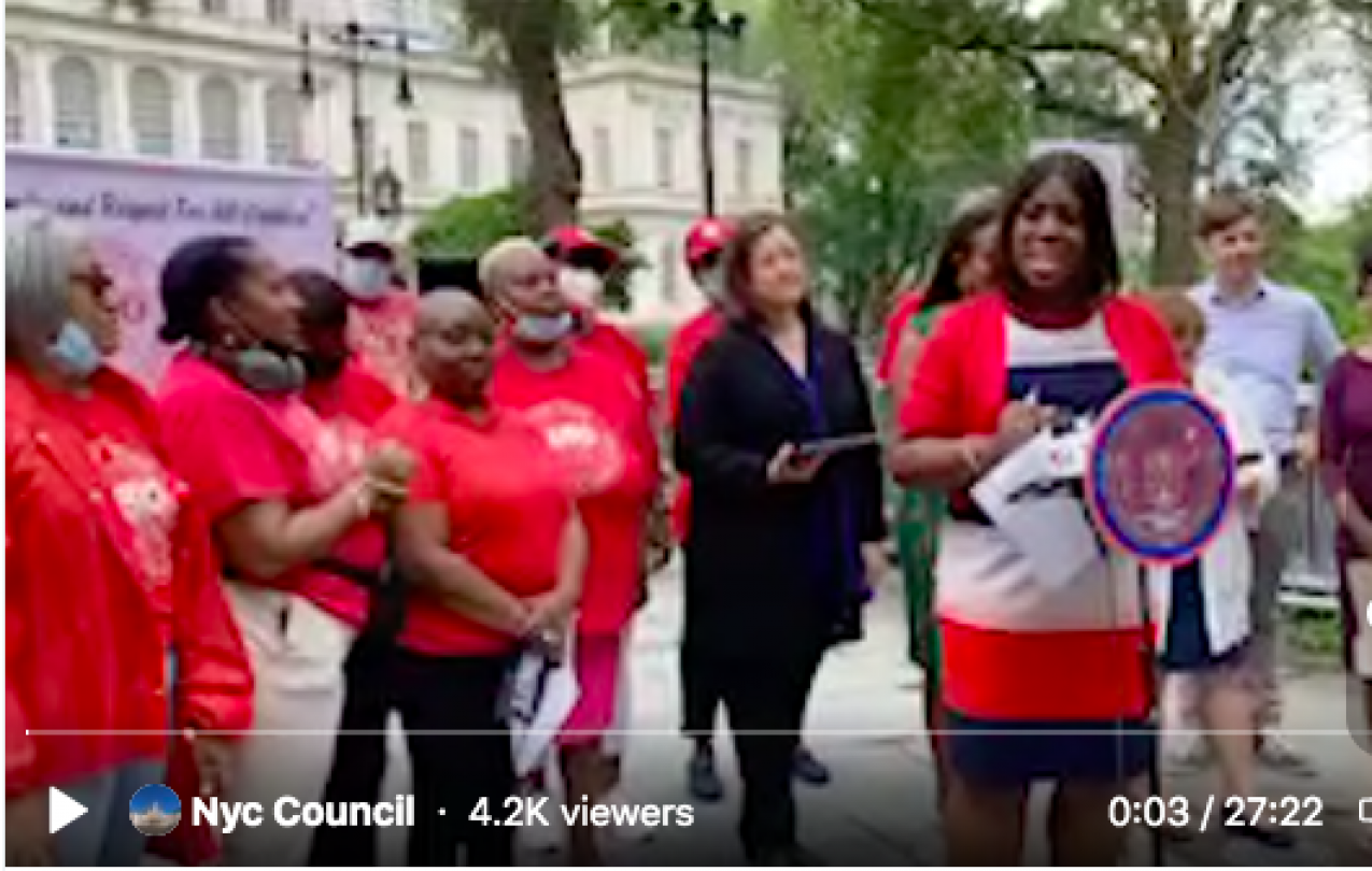 Screenshot of video from NY City Council press conference with CWA Local 1180