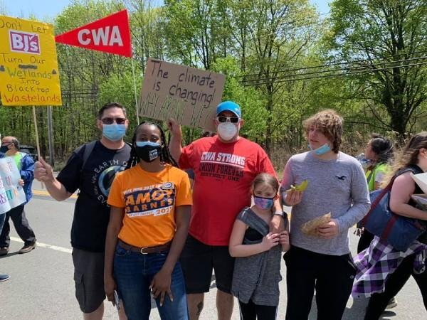 CWA Local 1102 with City Council candidate Amoy Barnes at Graniteville Wetlands March