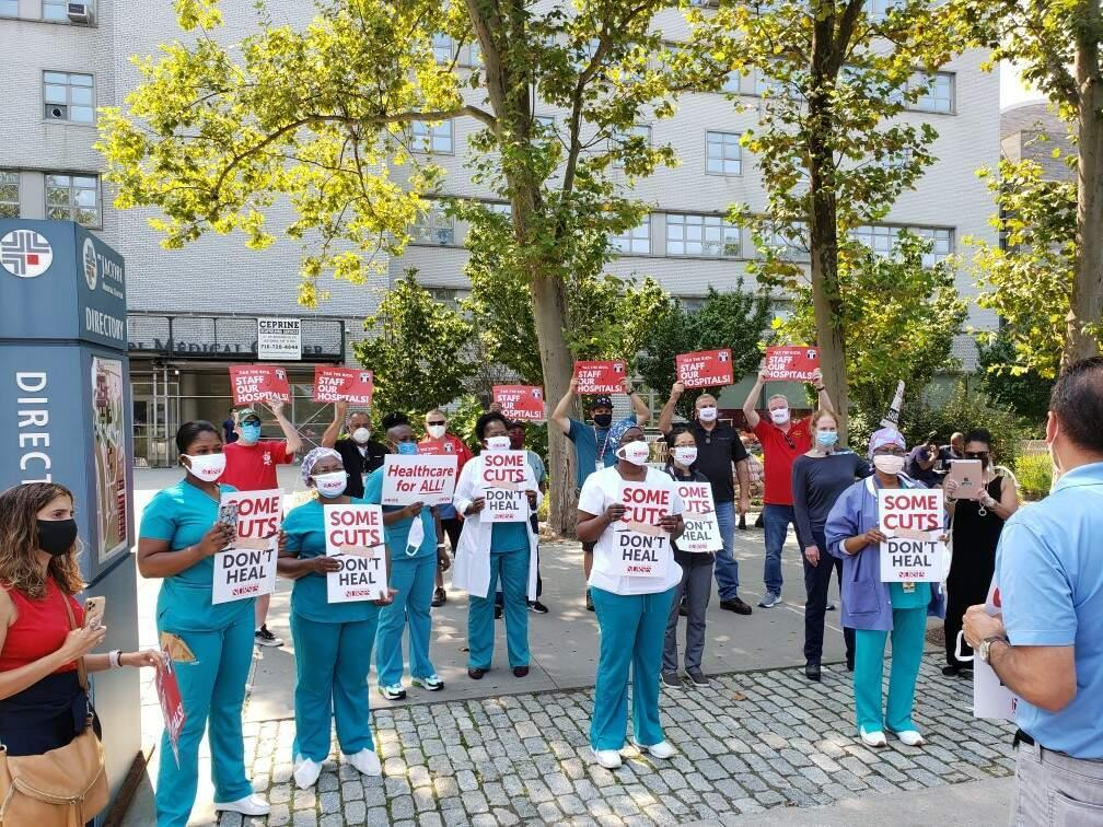 safe staffing rally in NYC with CWA District 1 and NYSNA