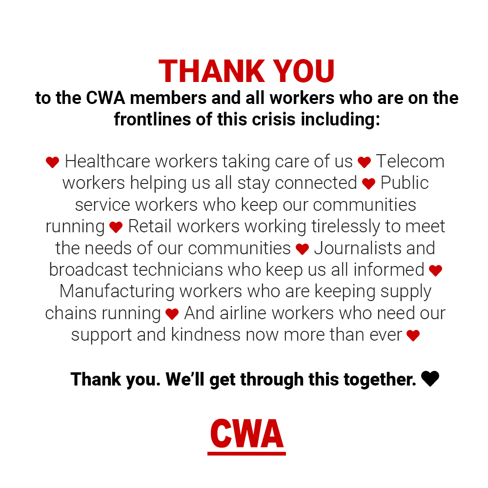 Graphic with text thanking essential workers