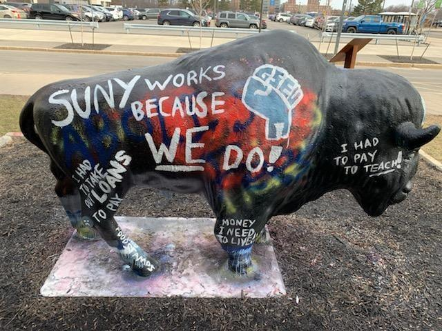 SUNY Buffalo bull painted by GSEU/Local 1104 members to protest mandatory fees for grad workers