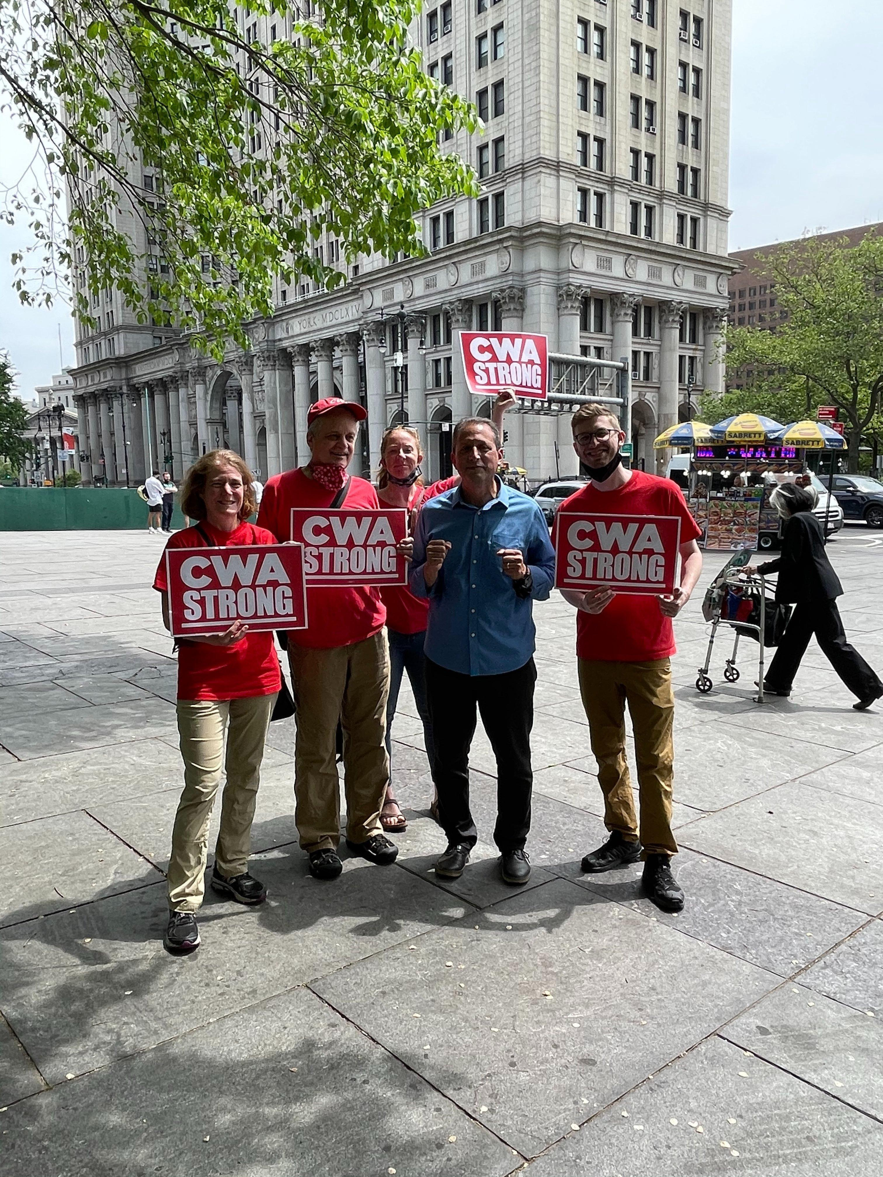 CWA members with Brad Lander for NYC Comptroller