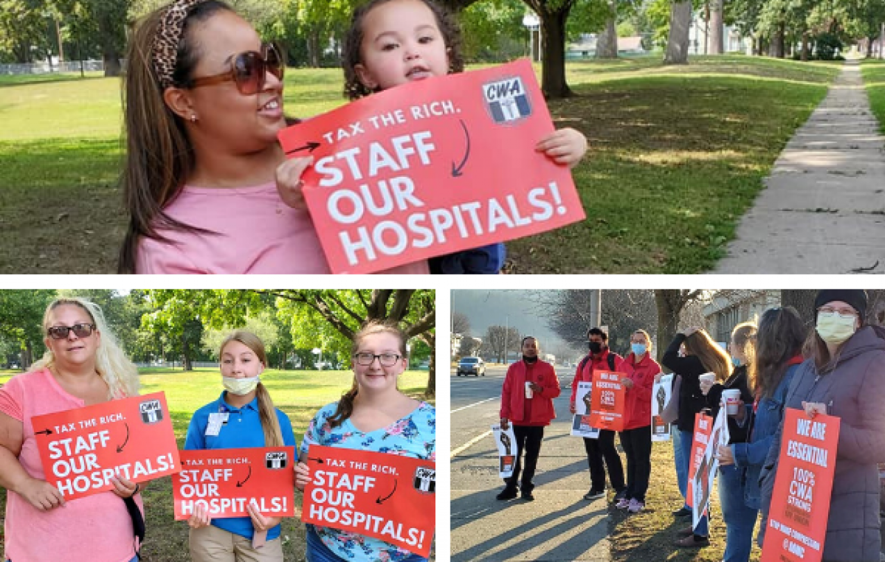 Collage of pictures of CWA Local 1111 members holding signs for Safe Staffing