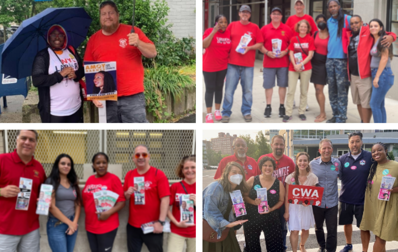 Collage of pictures of CWA members canvassing during NYC Primary Election Day 2021