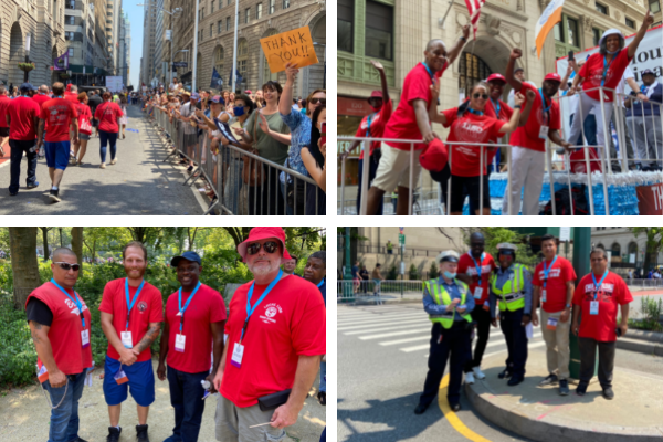 Collage of pictures of CWA members at the Essential Workers Ticker Tape Parade in NYC